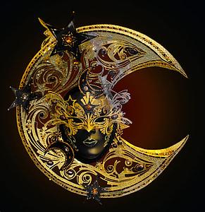 photography of half-moon opera mask