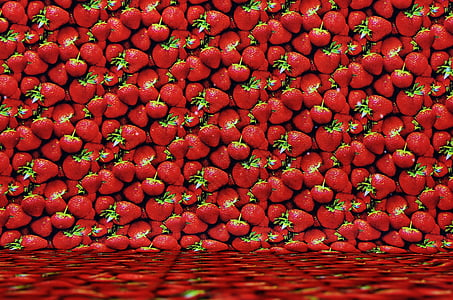 bulk of red strawberries
