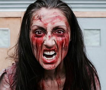 woman in zombie outfit