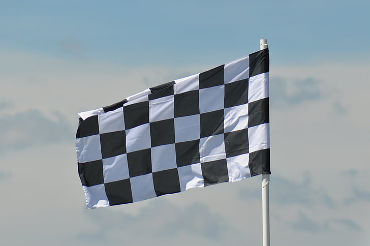 white and black checked flag
