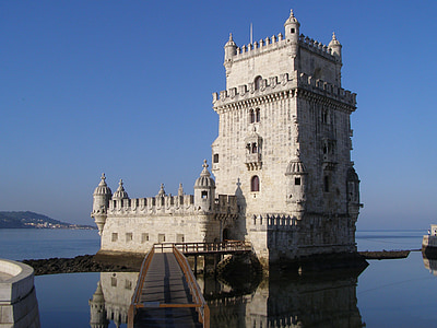 concrete castle surrounded with body of water