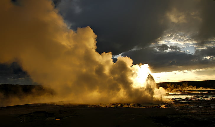 steam coming of of land landscape photography