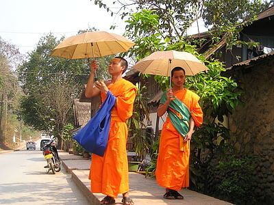 two monks with umbrellas at the sidewalk near house during day