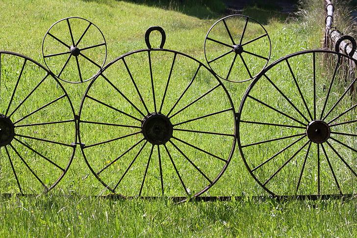 Gray Carriage Wheel Garden Decor