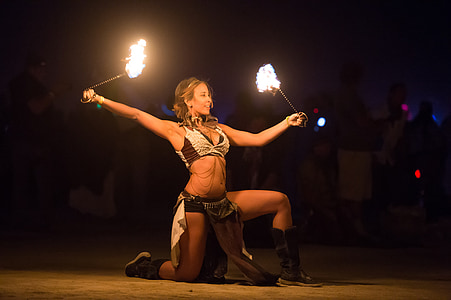 woman having a pyro dance