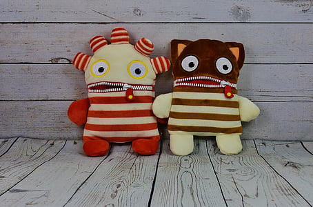 two monster plush toys