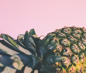 macro photography of pineapple