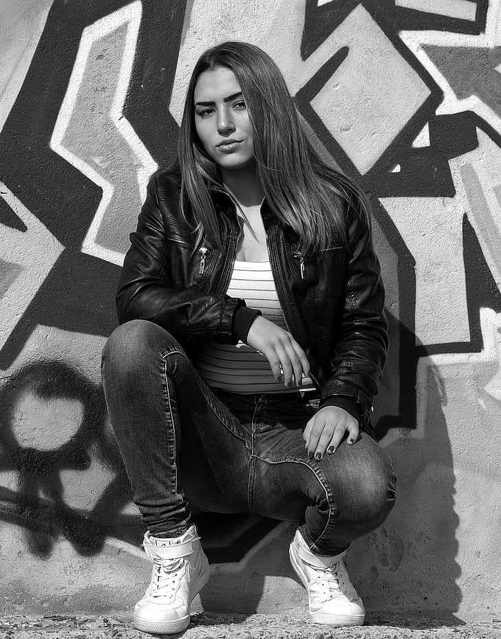 Royalty-Free Photo Grayscale Photography Of Woman Wearing Leather Jacket And Jeans -8213