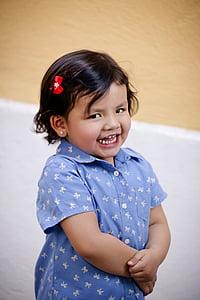 girl smiles white standing