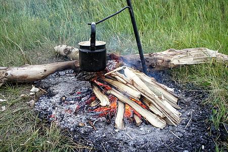 cooking pot on metal rod near wood log