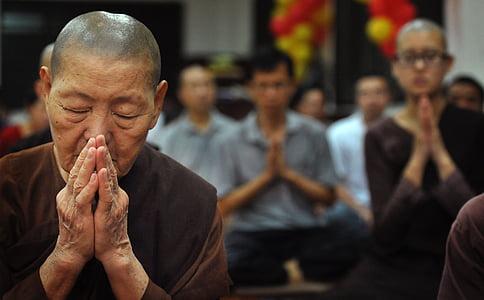 selective photo of woman praying inside room