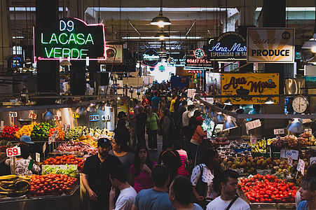group of people inside market place