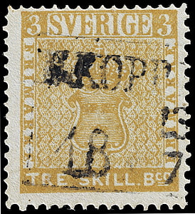 closeup of Sverige Tre Skill postage stamp