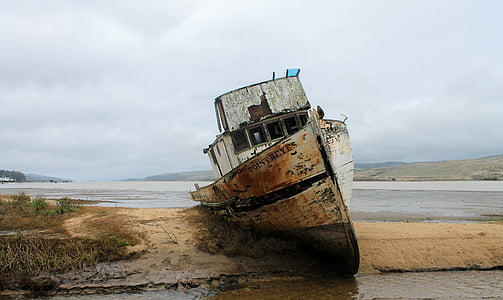white and grey fishing boat on shore