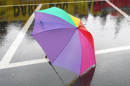 multicolored umbrella on floor