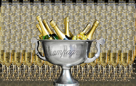 gray Champagne cup with champagne bottles