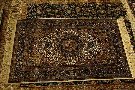 two brown and black floral area rugs