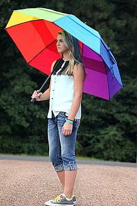 person using multicolored umbrella