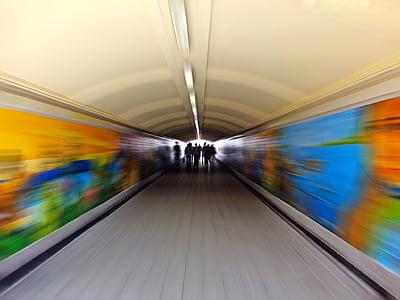 metro, blur, tunnel, people, underground, subway