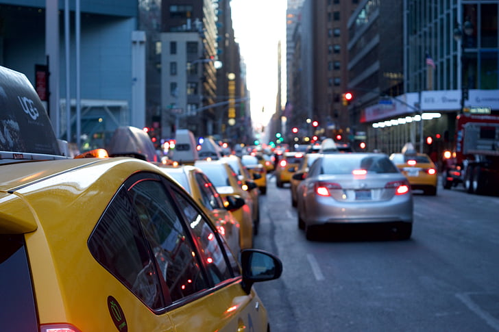 Taxi cab in line