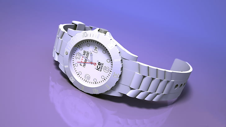 round silver-colored analog watch with white link at 2:00