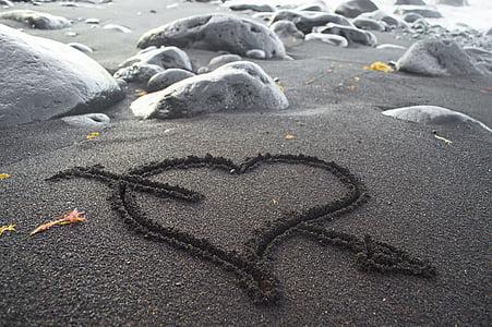black sand near seashore
