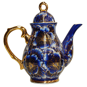 blue and gold floral teapot