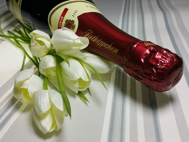 Royalty Free Photo White Flowers Beside Wine Bottle Pickpik