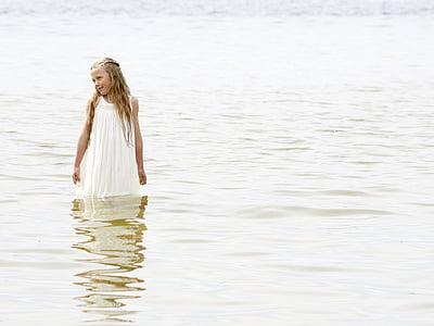 photo of girl in white dress in body of water