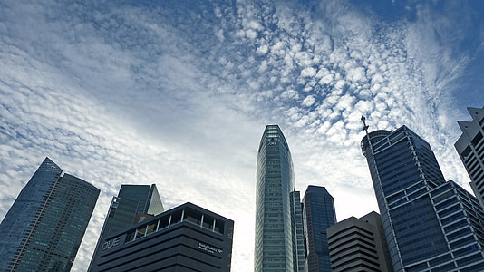 worms eye view of buildings during daytime