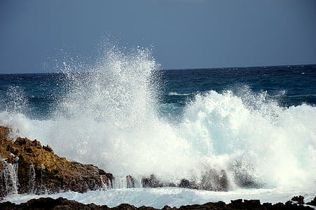 sea crashing on rocks