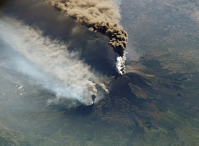 bird's eye photography of erupting volcano