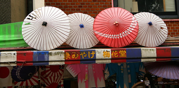 white and red umbrellas