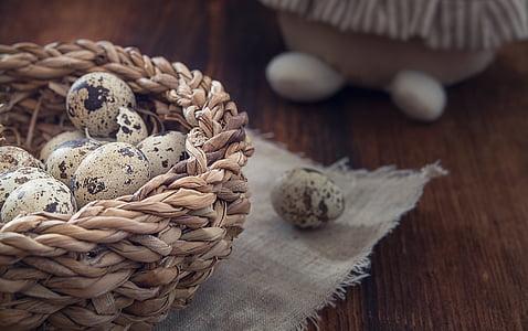 basket of quail eggs