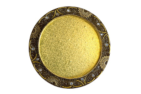 round gold and brown wall decor