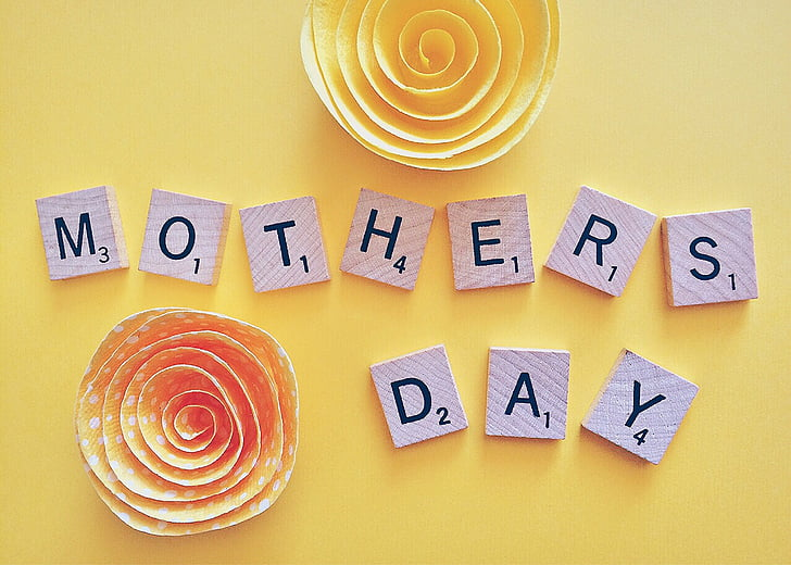 close up photo of Mothers Day letter blocks