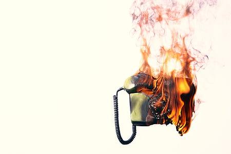 gray telephone burning digital wallpaper
