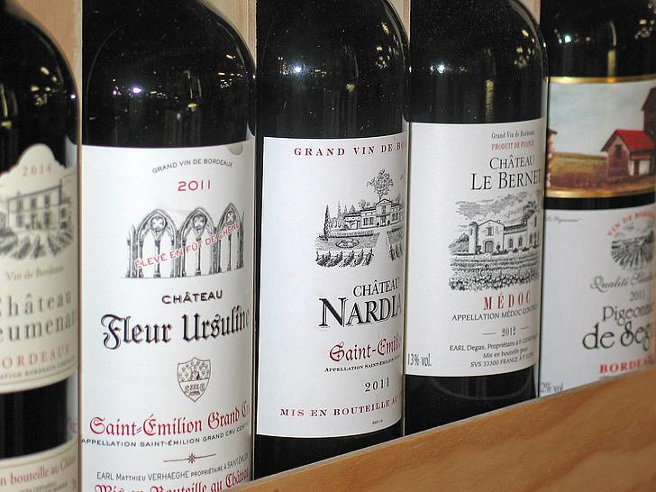 five Chateau bottles