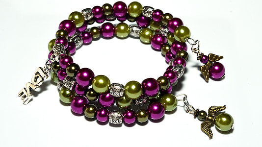 beaded green and purple accessory