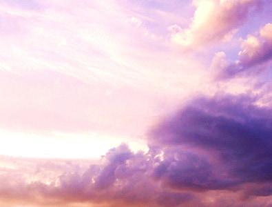 scarlet clouds over blue sky