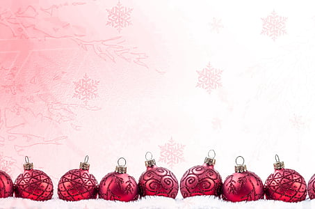 photo of red Christmas baubles