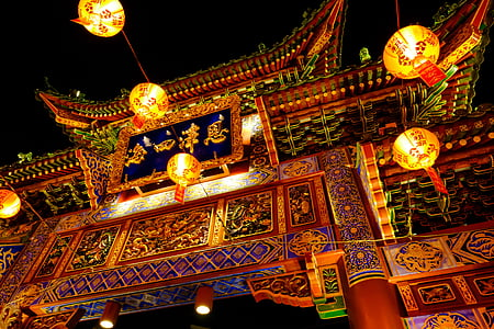 chinese temple gate with lighted lanterns