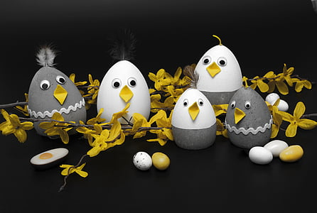 photography of grey and white egg decors