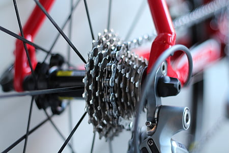 selective focus photography of bike sprocket