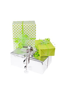 green and gray gift boxes