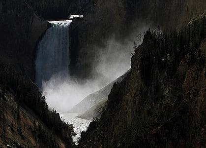 waterfall between mountain