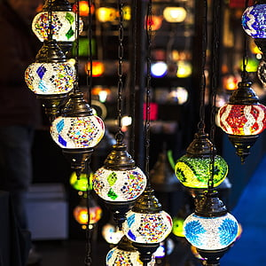 assorted color pendant lamps glowing