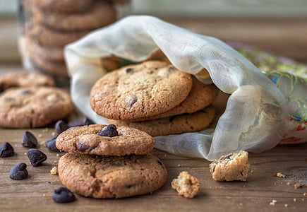 chocolate chip cookies on wooden surface