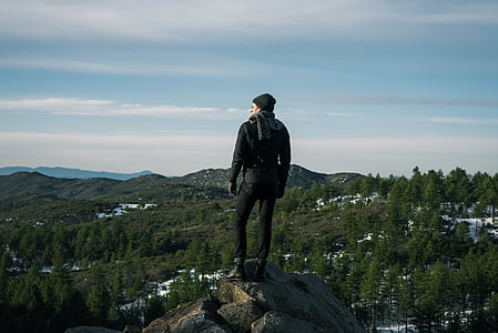 photo of man standing on rock with view of tall green leaf trees and mountains
