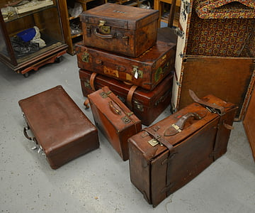 brown leather suitcase lot